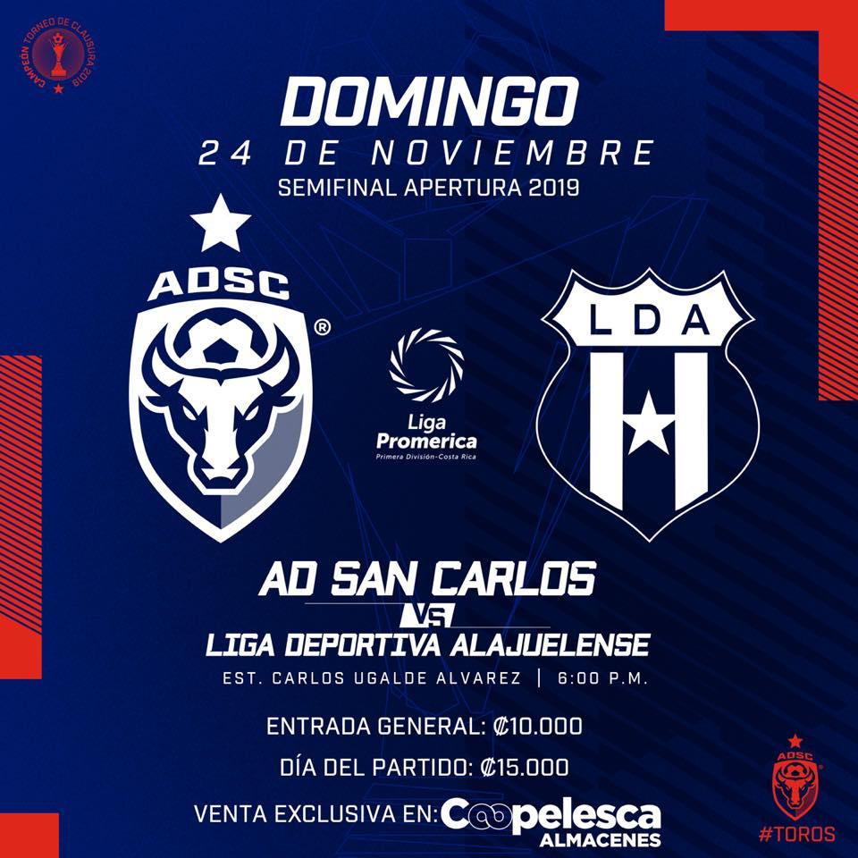 Dirigencia de San Carlos sacó a la venta las entradas para la semifinal ante Alajuelense.