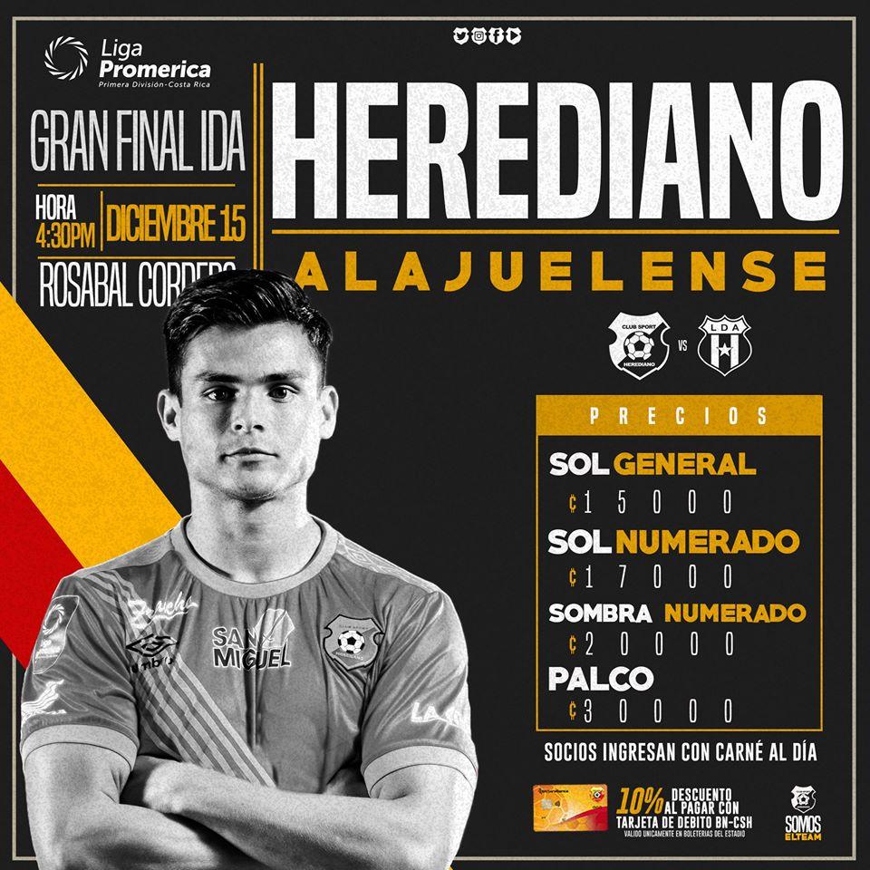 Herediano cobra entre ₡15 mil y ₡30 mil para la ida de la gran final en el Rosabal.