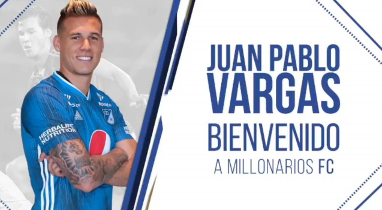El defensa costarricense, Juan Pablo Vargas, fue presentado como nuevo jugador del Millonarios FC de Colombia.