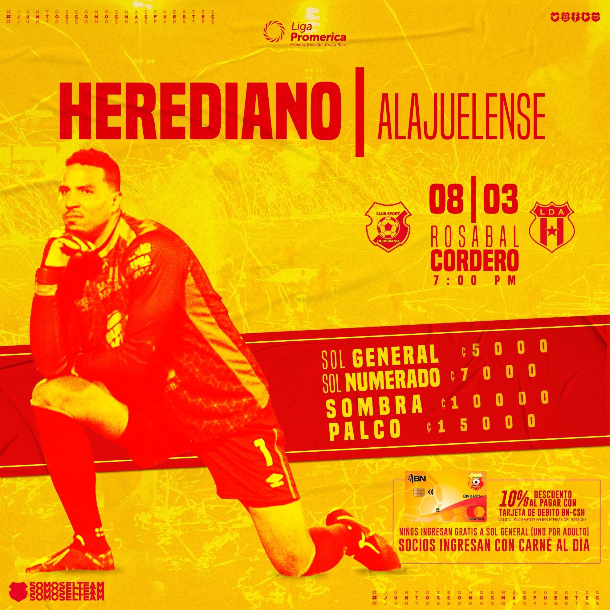 Herediano cobrará entre 5 mil y 15 mil colones para el juego del domingo ante Alajuelense.