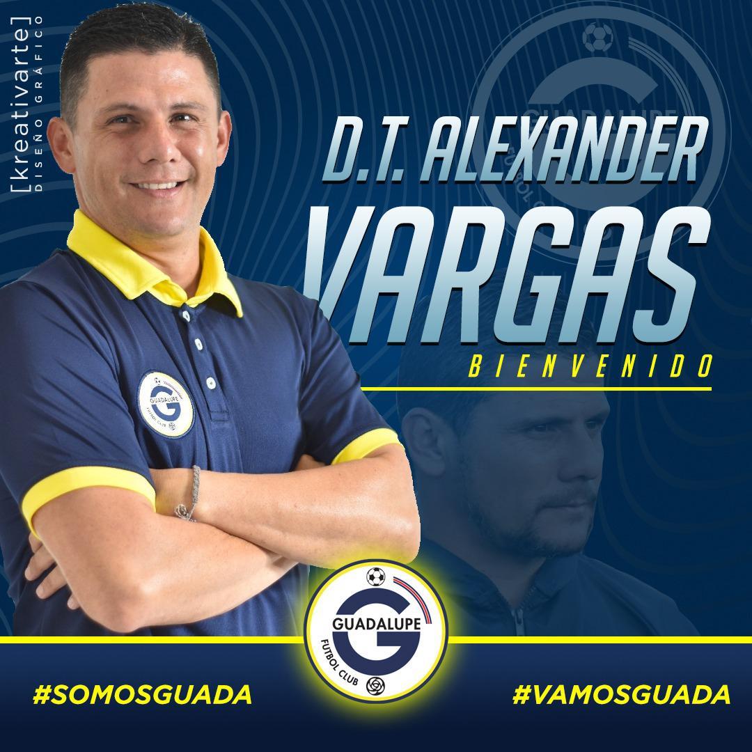 Guadalupe FC nombra a Alexander Vargas en sustitución de Geiner Segura.