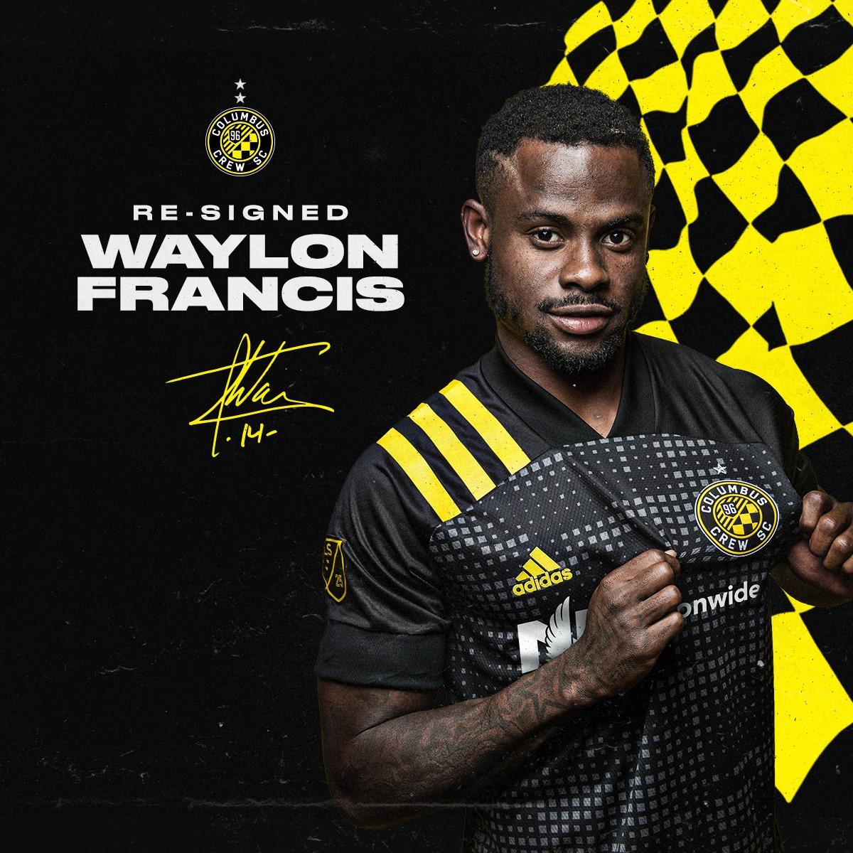 Waylon Francis logró acuerdo y seguirá por un año más en el Columbus Crew.