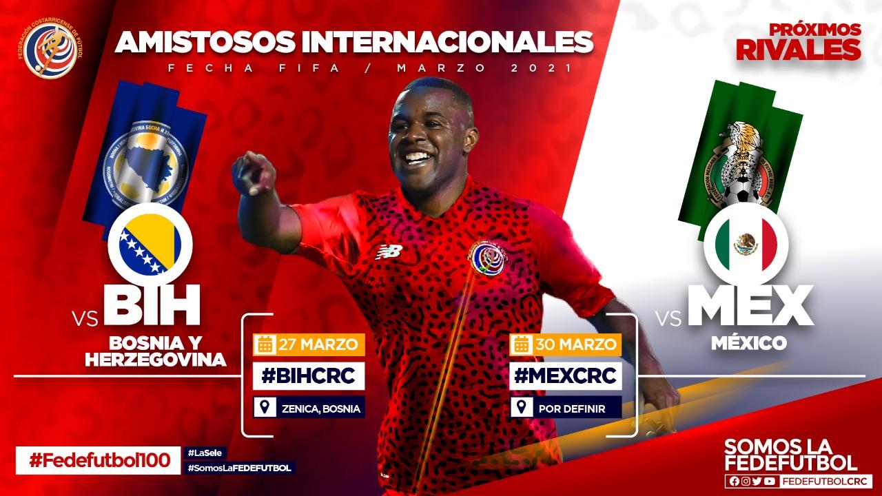 Costa Rica enfrentará a Bosnia-Herzegovina y a México en la fecha FIFA de marzo.